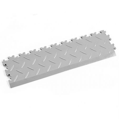 MotoLock Interlocking Tile Edging (Light Grey Diamond-plate)